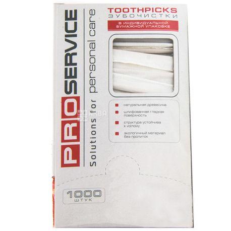 PROservice, Зубочистки деревянные, в индивидуальной бумажной упаковке, 1000 шт.