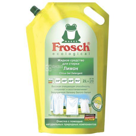 Frosch Лимон, Жидкое средство для стирки белых вещей, 2 л, дой-пак