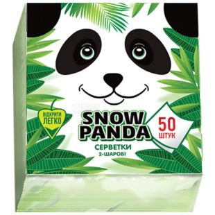 Сніжна Панда, 50 шт., Серветки столові, 2-х шарові, 24x24 см, зелені