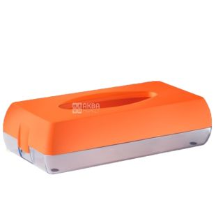 Colored Dispenser for facial tissue orange, plastic