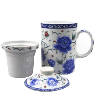 Blue Flower Cup with Teapot and Lid, 350ml
