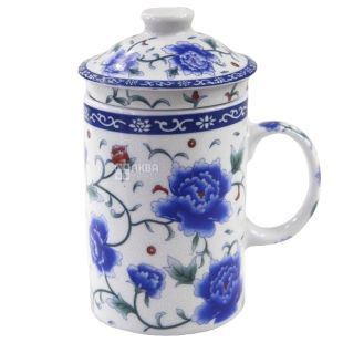 Синий цветок Чашка с заварником и крышкой, 350мл