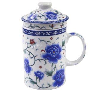 Синя квітка Чашка з заварником і кришкою, 350мл