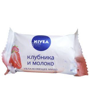 Nivea, 90 г, мыло увлажняющее, Клубника и молоко