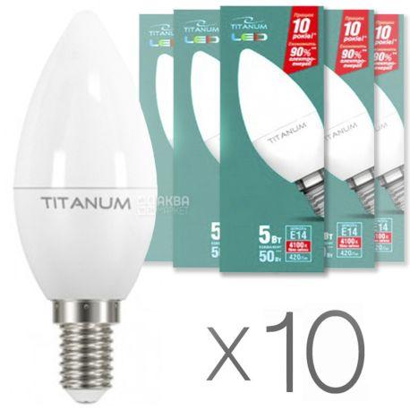 TITANUM C37 5W E14 4100K 220V LED Лампа, 10 шт, картон