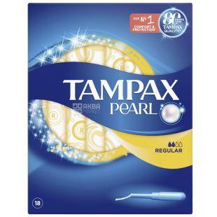 Tampax Pearl Regular Duo, Тампони з аплікатором, 2 каплі, 18 шт., картон