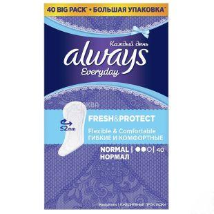 Always Everyday Normal, Прокладки, 2 каплі, 40 шт., картон