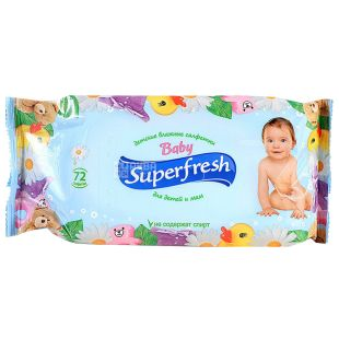 Superfresh, 72 pcs., Wet wipes, Baby, m / s