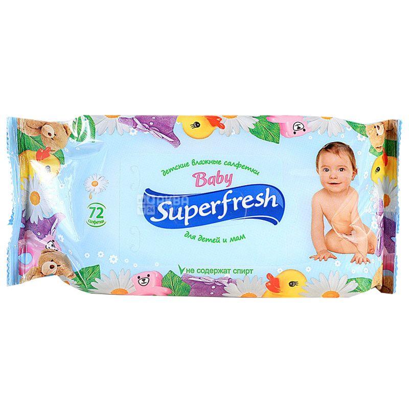 Superfresh Baby, 72 шт., Салфетки влажные Суперфреш, Детские, для ухода за кожей