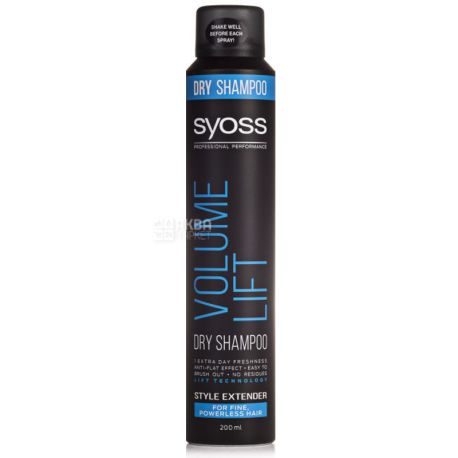 Syoss Volume Сухий шампунь для ослабленого волосся, 200мл, пластик