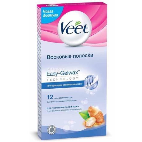 Veet, 12 шт, Восковые полоски для эпиляции, С витамином Е и мигдальным маслом