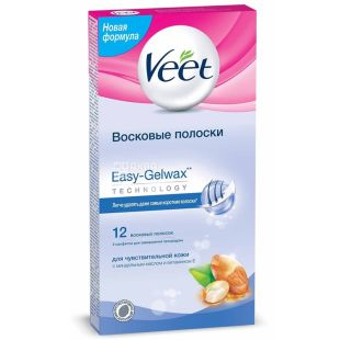 Veet, 12 шт, Воскові смужки для епіляції, З вітаміном Е і мигдальним маслом