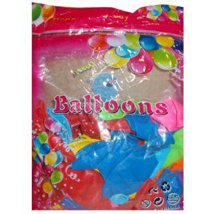 Пастель Воздушный шар, 30 см, 100 шт, 6 цветов ассорти, пакет