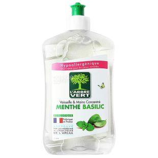 L'arbre Vert, Гель для мытья посуды, Мята и базилик, 500 мл