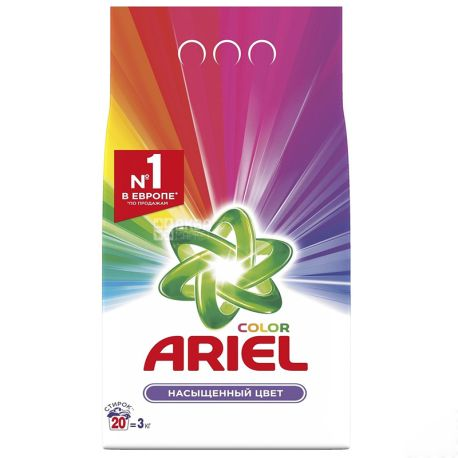 Ariel Color, Washing powder, Automatic, Rich Color, 3 kg