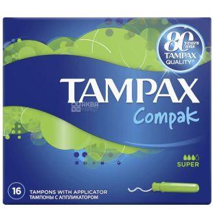 Tampax Compak Super Duo, Тампони з аплікатором, 3 каплі, 16 шт., картон