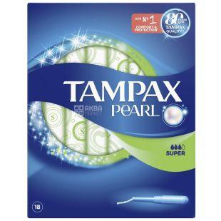 Tampax Pearl Super Duo, Тампони з аплікатором, 3 каплі, 18 шт., картон