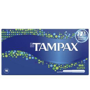 Tampax Compak Super Cardboard, Тампоны с аппликатором, 3 капли, 16 шт., картон