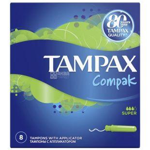 Tampax Compak Super Single, Тампоны с аппликатором, 3 капли, 8 шт., картон