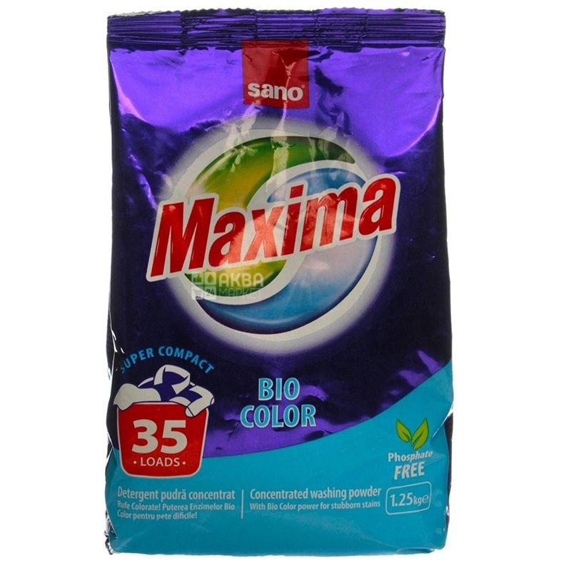 Sano Maxima Bio, Порошок стиральный автомат, 1,25 кг, м/у