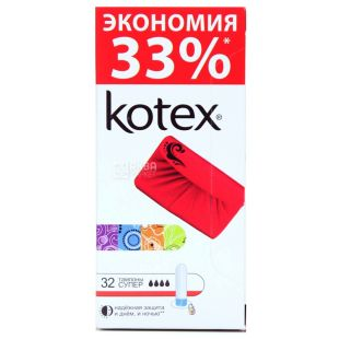 Kotex Super Гігієнічні тампони, 32шт, картонна коробка