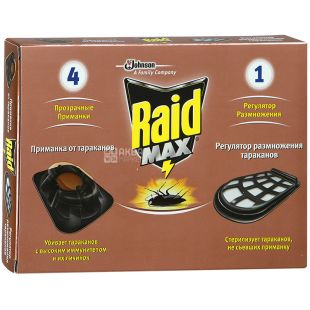 Raid Max, Приманка от тараканов, С регулятором размножения, 4 + 1 шт.