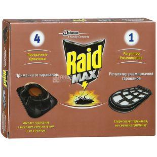 Raid Max, Приманка від тарганів, С регулятором розмноження, 4 + 1 шт.