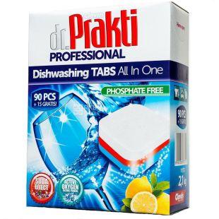 Dr.Prakti Professional, Таблетки для посудомийної машини з ароматом лимону, 90+15 шт., картон