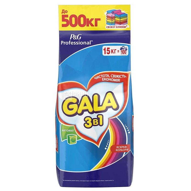Gala Color, Стиральный порошок 3 в 1, Автомат, Яркие цвета, 15 кг