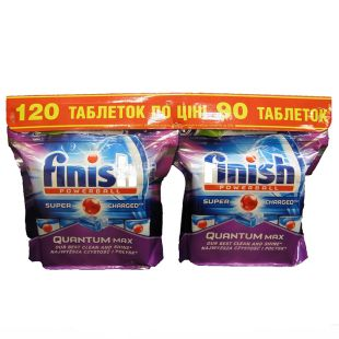 Finish Quantum, Таблетки для посудомийної машини, 60+60 шт., м/у