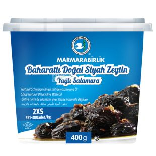 Marmarabirlik 2XS Black Dried Olives with Spices, 400 g, PET