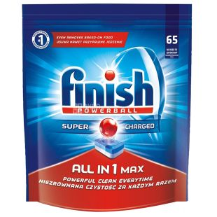 Finish All in 1, Таблетки для посудомийної машини, 65 шт., м/у