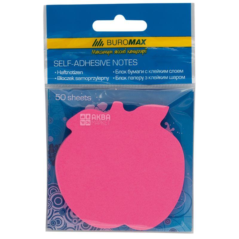 Buromax Яблуко, Блок паперу з клейким шаром, 50 аркушів, асорті