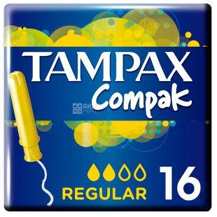 Tampax Compak Regular, Тампони з аплікатором, 2 каплі, 16 шт., картон