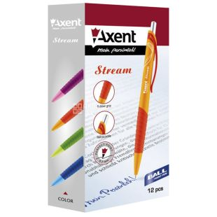 Axent Stream, Ручка автоматическая шариковая, синяя, упаковка 12шт