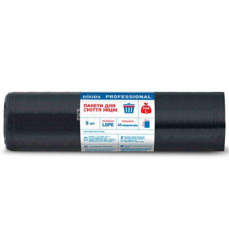 More Goods Professional, 5 шт., 240 л, Пакеты для мусора Мор Гудс Профешнл, без затяжек, суперпрочные, черные