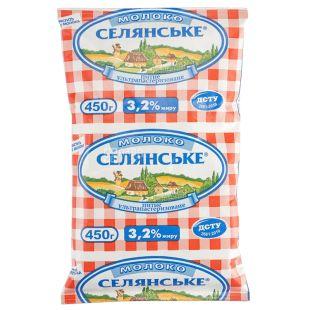 Селянское молоко 3,2% у/пастер 0,45 л, тетра пак