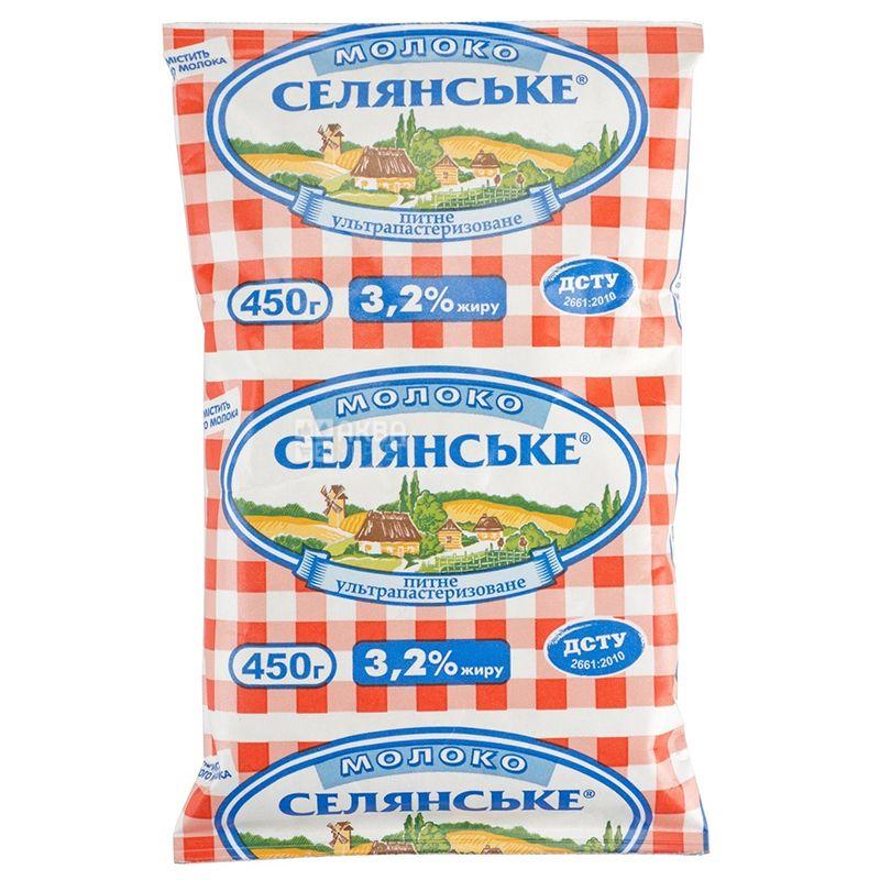 Селянское, Молоко ультрапастеризованное 3,2%, 450 мл