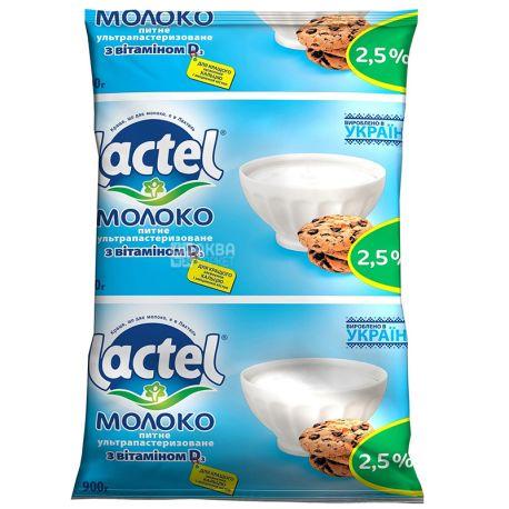 Lactel, Молоко ультрапастеризоване 2,5% з вітаміном D, 900 мл