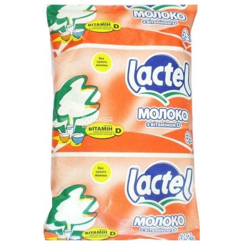 Лактель молоко 3,2% у/пастер с витамином D 0,9 л, м/у