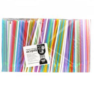 Соломка гофрированная, Ассорти, 21 см, Упаковка 1000 шт, ТМ Помощница