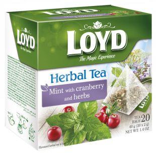 Loyd, Herbal Tea, 20 пак., Чай Лойд, Трав'яний з м'ятою і журавлиною