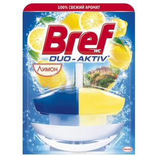 Block for toilet bowl Bref Duo-activ (Bref Duo-Aktiv) lemon, basket, 50 ml