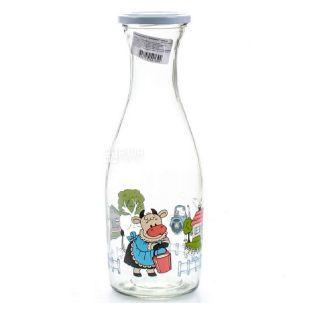 Бутылка для молока стеклянная прозрачная с крышкой, Коровка, 1 л, Everglass Мilk