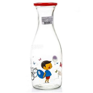 Everglass Мальчик, Бутылка стеклянная прозрачная с крышкой, 1 л