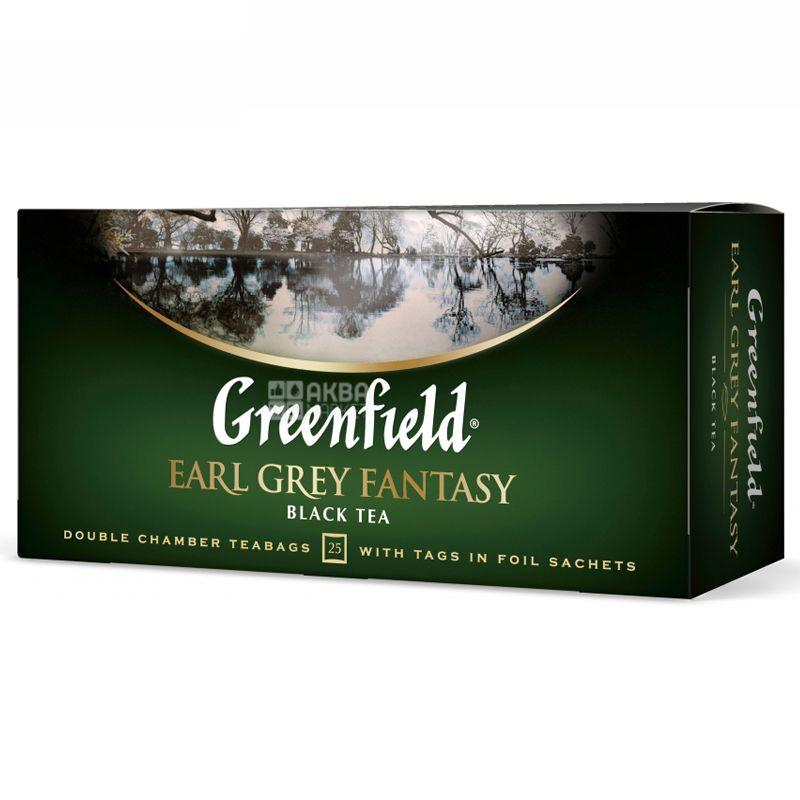 Greenfield,Earl Grey Fantasy, 25 пак., Чай Гринфилд, Эрл Грей, черный с бергамотом