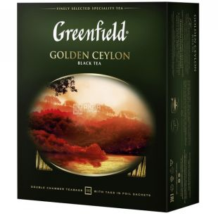 Greenfield black tea, 100 pack. Golden ceylon