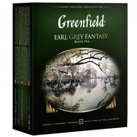 Greenfield, Earl Grey Fantasy, 100 пак., Чай Грінфілд, Ерл Грей, чорний з бергамотом