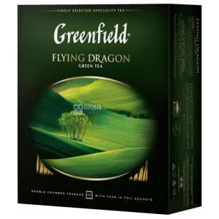 Greenfield,Flying Dragon, 100 пак., Чай Гринфилд, Флаин Драгон, зеленый