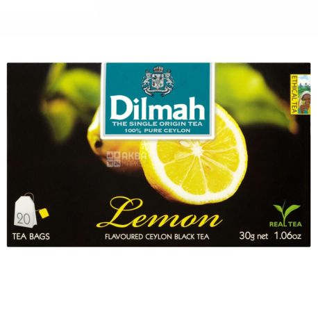 Dilmah, Lemon, 20 пак., Чай Ділма, Лимон, чорний